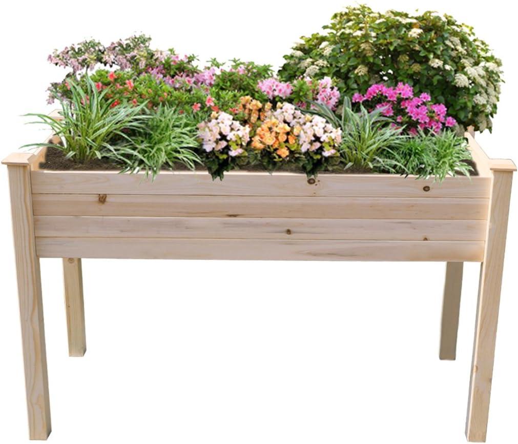 Yardeen Raised Bed Planter Flower Gardening Planter for Patio Deck Balcony,Nature Cedar Wooden