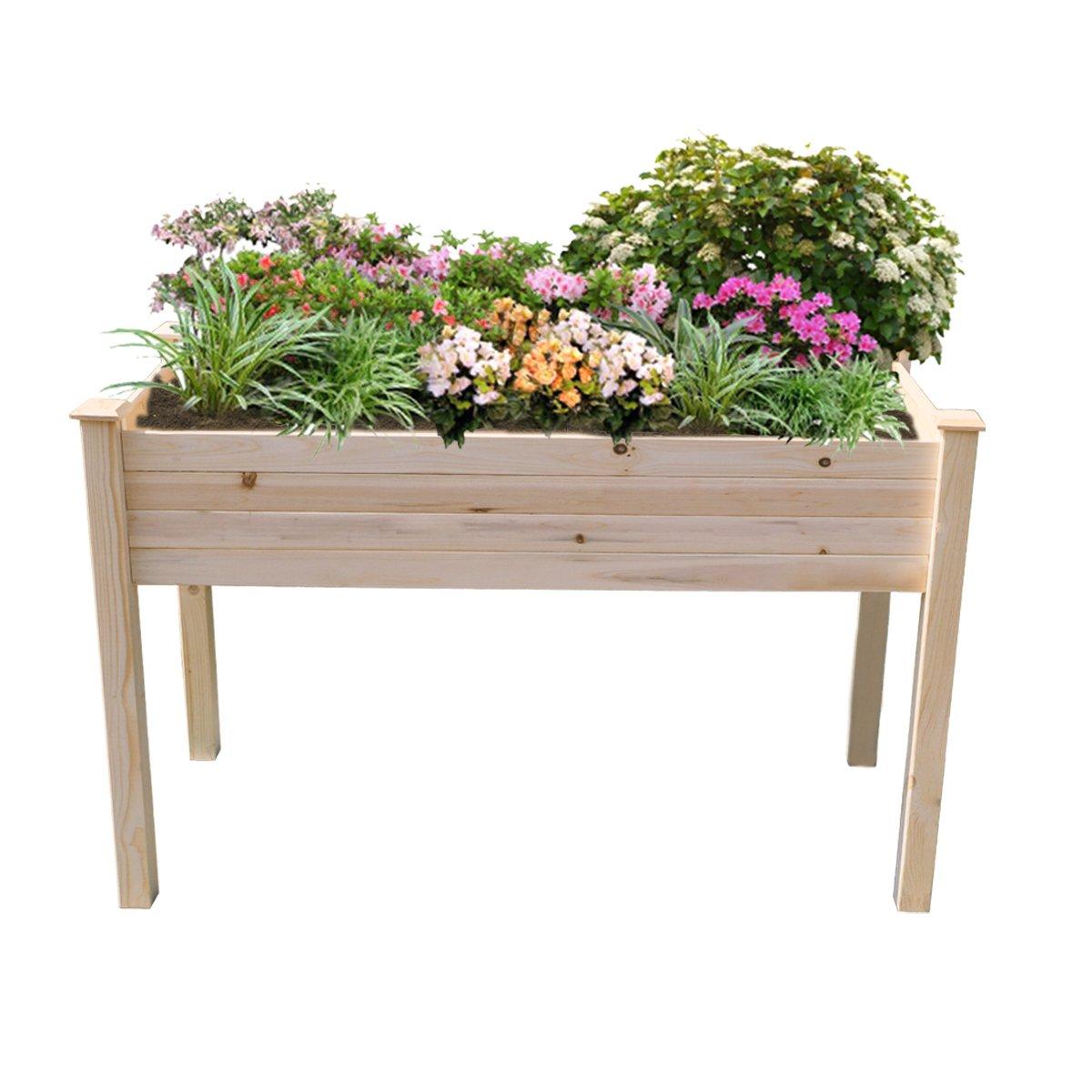 Yardeen Cedar Wooden Raised Planter Bed Flower Yard Gardening Planter for Patio Deck Balcony