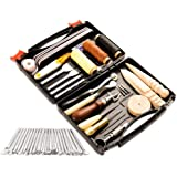 50 Pieces Leather Working Tools and Supplies with Leather Tool Box Prong Punch Edge Beveler Wax Ropes Needles Perfect…