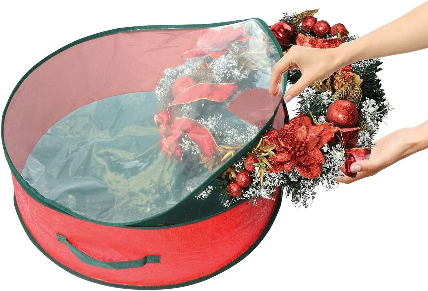 ADEPTNA Set of 2 Premium Christmas Wreath Storage Decoration Storage Bags Red Clear Zipped Cover Enables to Easily Identify the Contents