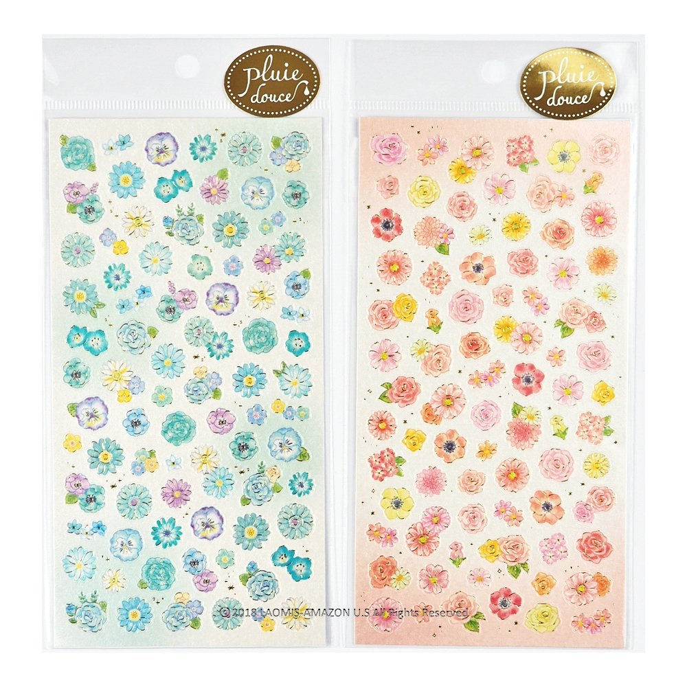 - 178 Stickers Yellow 78838 78837 + White Mind Wave Japanese Flower Paper Mini Sticker Sheets // Set of 2