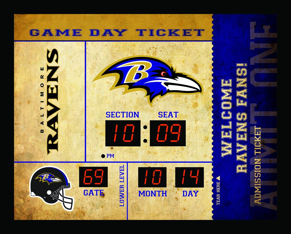 Team Sports America Baltimore Ravens Bluetooth Scoreboard Wall Clock by Team Sports America