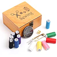 Amagoing Wooden Sewing Box Sewing Organizer Basket