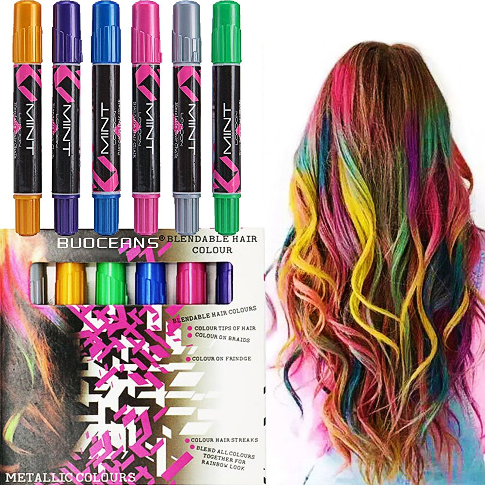 HAIR CHALKS SET: 6 Colorful Hair Chalk Pens Edge Chalkers. For Halloween Christmas party, Temporary Color for Girls for All Ages. Makes a Great Birthday Gifts For Girls, Works on All Hair Colors by BUOCEANS Official