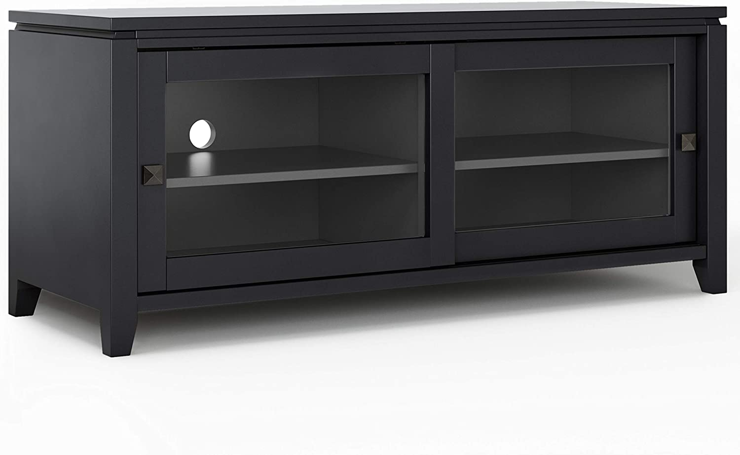 SIMPLIHOME Cosmopolitan SOLID WOOD Universal TV Media Stand, 48 inch Wide, Contemporary, Living Room Entertainment Center, Cabinet, Glass Doors, for Flat Screen TVs up to 55