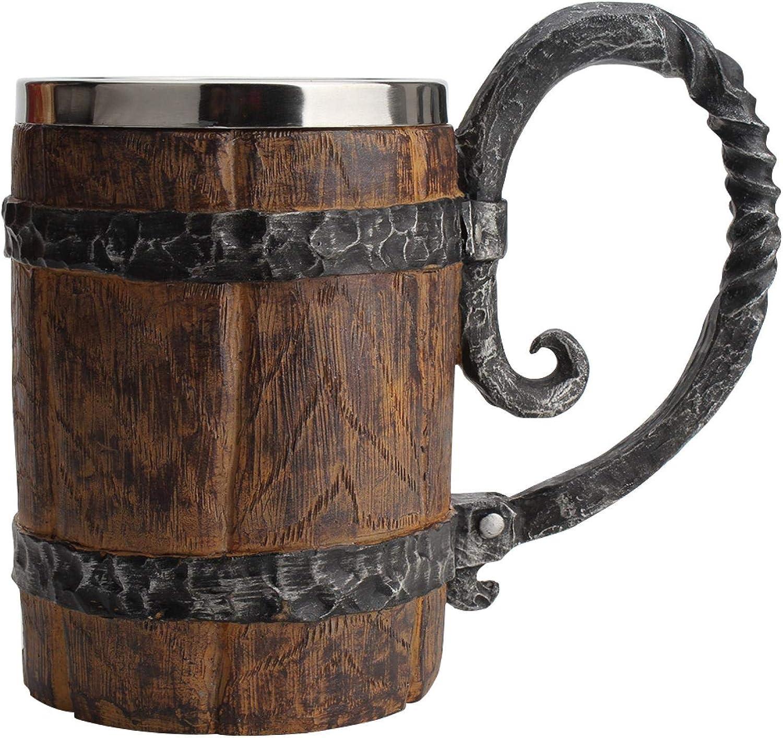 MOVKZACV Taza de cerveza de barril con forma de cubo de resina de acero inoxidable con asa, gran idea de regalo de cerveza, jarra de madera para hombres, accesorios de barra vintage (650 ml)