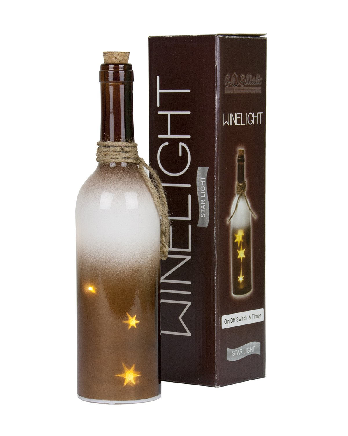 Fairylight Wine Bottle Stars Lights With On//Off Switch and Timer Christmas Decor Brown