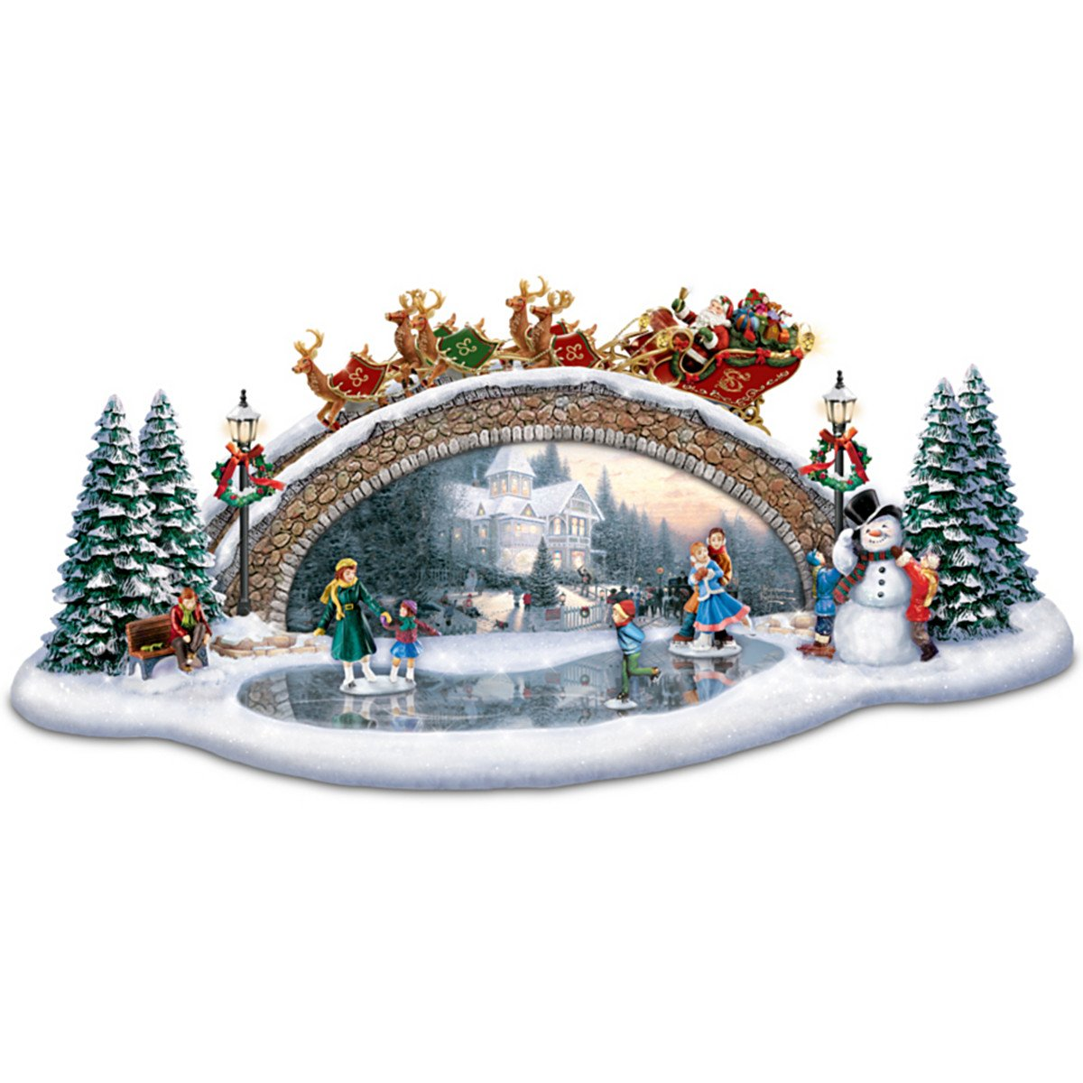Amazon.com: Thomas Kinkade Christmas Decor Bridge Sculpture: Light ...
