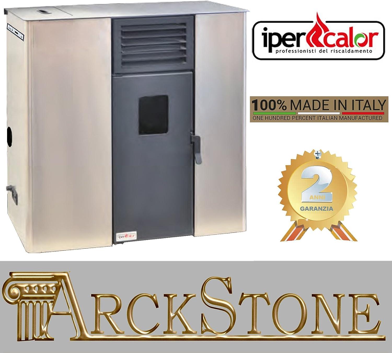 Ipercalor Estufa pelets aire ventilada económica modelo Libra 00 color beis rojo burdeos gris antracita 5 KW ocupa pequeña certificada calienta salas con depósito para 120-150 metros cúbicos beige