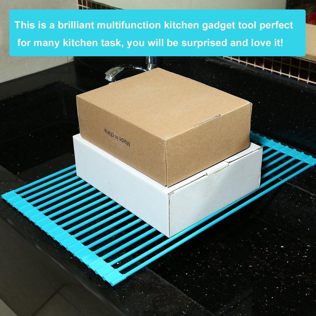 OUTAD Rilascio di Rollaggio Raffreddamento Rack Piastra pieghevole multifunzione lavastoviglie da cucina Drainer cucina Sopra il lavandino