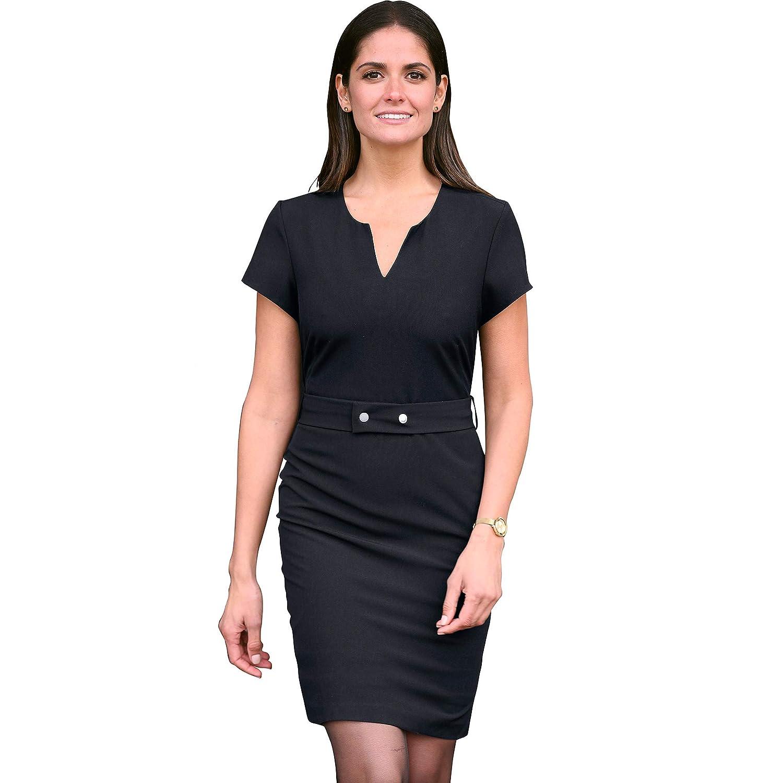 VENCA Kleid mit Kaftanausschnitt und Gürtel aus elastischem Stoff - 017985