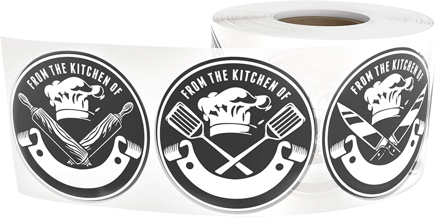 The Kitchen of Decals 1.5-Inch Circles 450 Stickers Per Roll (3 Designs) Homemade Food Stickers Black & White