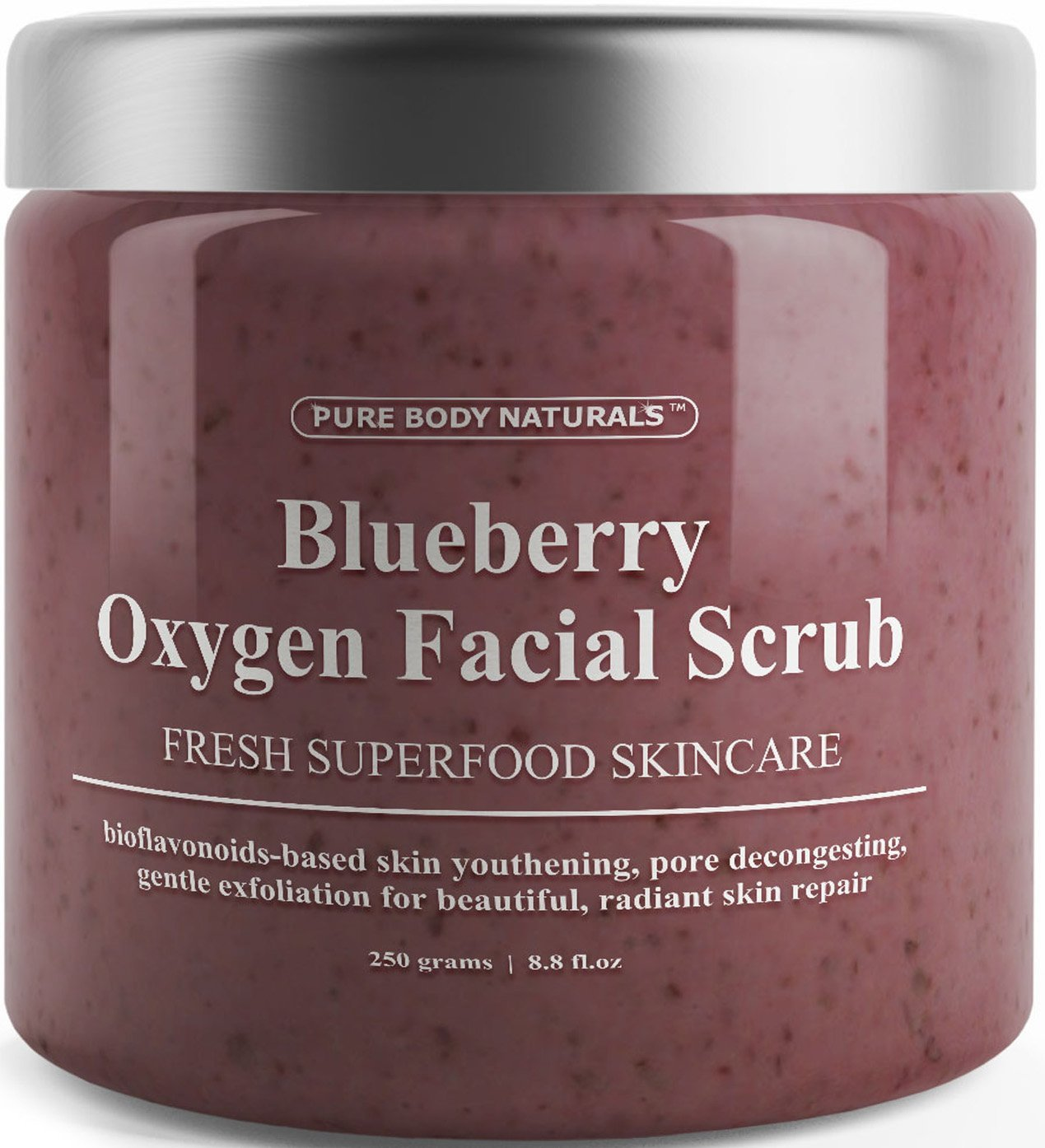 Blueberry Oxygen Facial Scrub with Antioxidants, Polishing and Exfoliating Face Wash by Pure Body Naturals, 8.8 Ounce Blueberry Facial Scrub