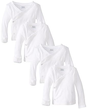 9ba10c2be Gerber Unisex-Baby Newborn 4 Pack Long Sleeve Side Snap Mitten Cuffs Shirt  (Newborn