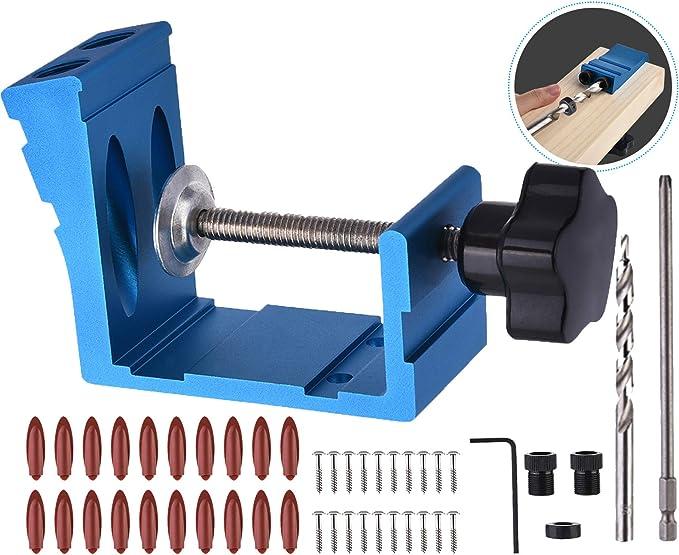 56 piezas posicionador de 6//8//10 mm carpinteros para gu/ía de perforaci/ón para /ángulos de trabajo de madera Juego de 56 plantillas para agujeros de bolsillo con puntas de taladro de 15/°