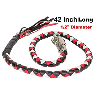 """42"""" Long 1/2"""" Diameter Red White and Black Combination Naked Soft Genuine Leather Motorcycle Get Back Whip"""