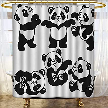 Lacencn NurseryShower Curtains With Shower HooksSet Playful Panda Bear In Monochrome
