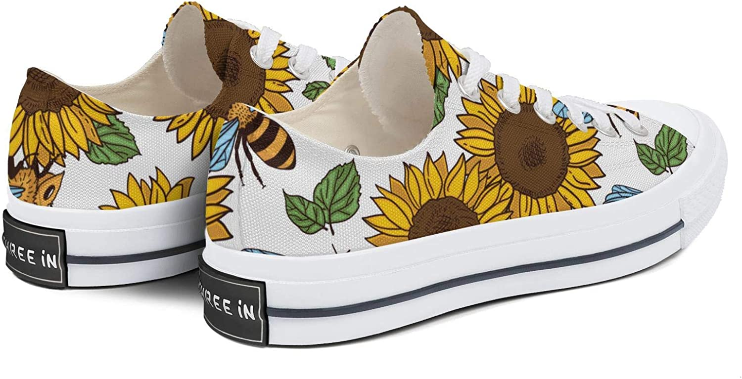 Womens Canvas Low Top Sneaker Giant Sunflower Sunflower Plant Style Slip on Shoes Unique Trainers