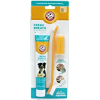 Arm & Hammer Dog Dental Care Fresh Breath Kit for Dogs | Contains Toothpaste, Toothbrush & Fingerbrush | Reduces Plaque & Tartar Buildup | Safe for Puppies, 3-Piece Kit, Vanilla Ginger Flavor