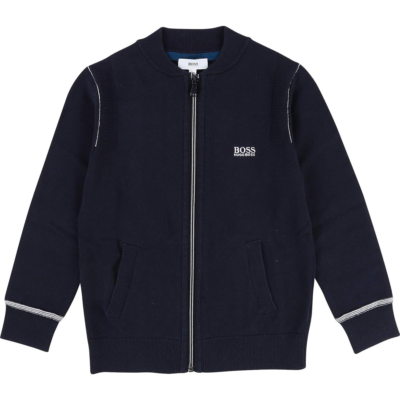 BOSS Boys Zip Front Knit Cardigan Sizes 6-16