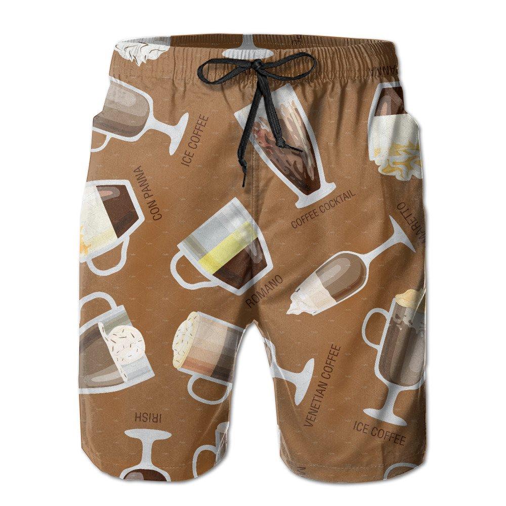 StiglerBBB Mens Swim Trunks Coffee Cartoon Pattern Fast Dry Ultra-Light Ventilation Cargo Shorts
