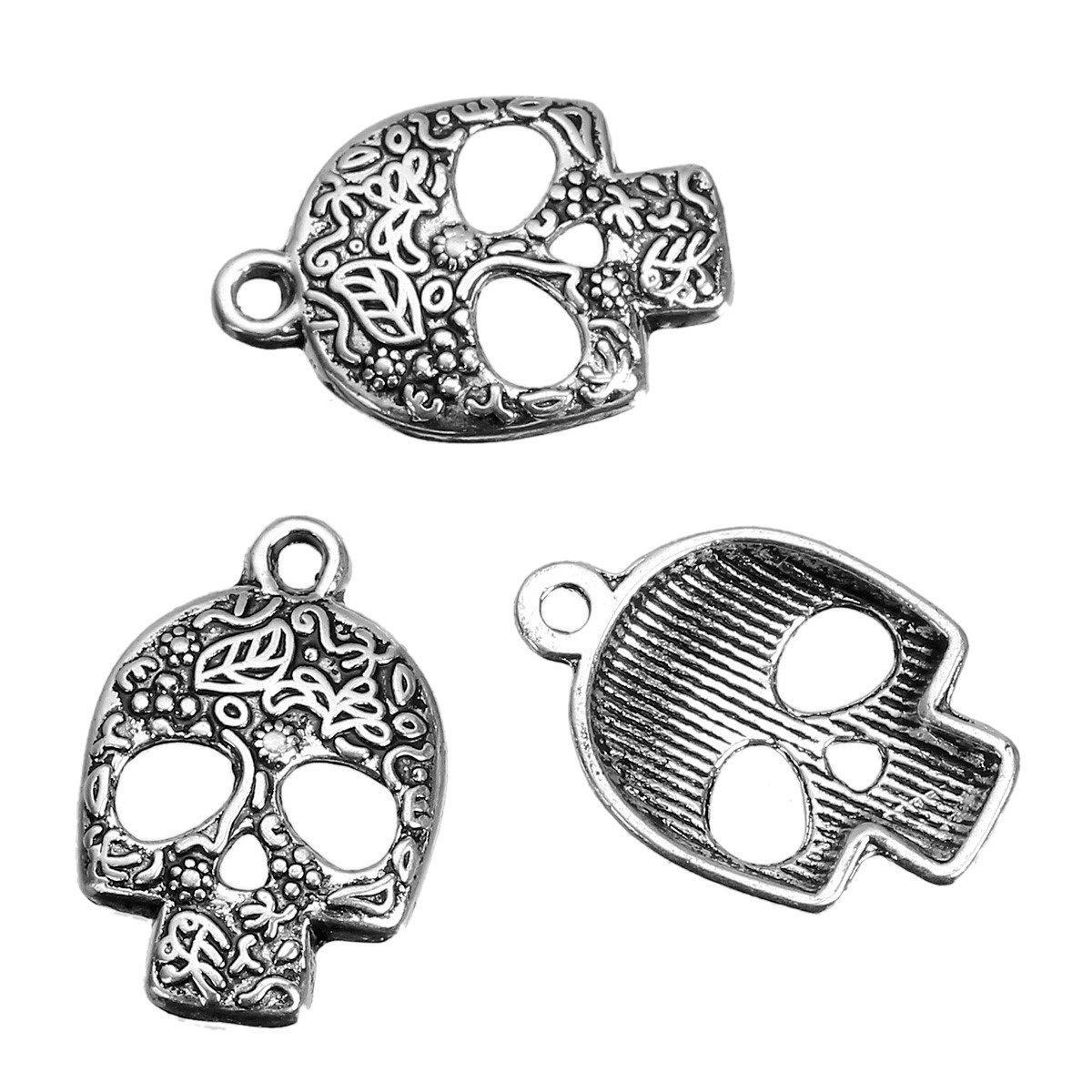 10 x Tibetan Silver SUGAR SKULL HALLOWEEN DAY OF THE DEAD Charms Pendants Beads Pink Cat Charms