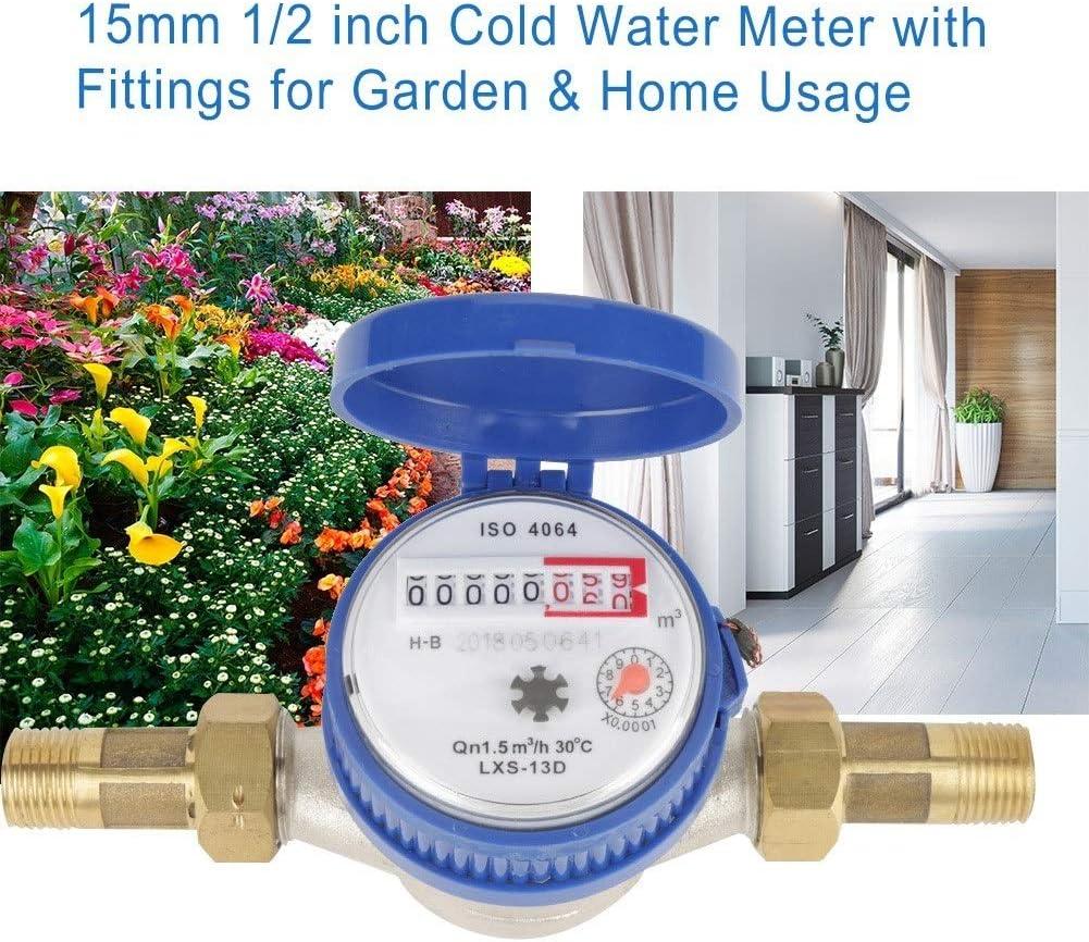 Delaman Medidor de Agua 1//2 Pulgadas Medidor de Agua Fr/ía con Accesorios for 1PC Jard/ín Hogar Uso 15mm
