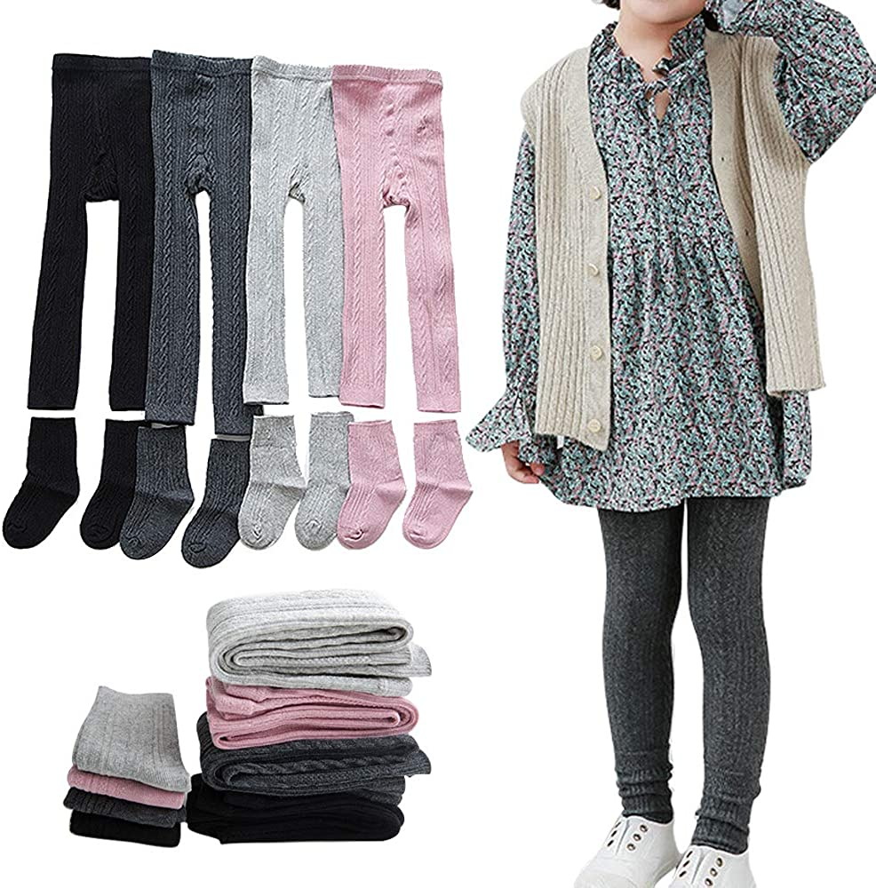 Girls Leggings Baby Toddler Tights Stockings Cable Knit Cotton Pants - 4 Pack Footless Tights & 4 Pairs Socks: Clothing