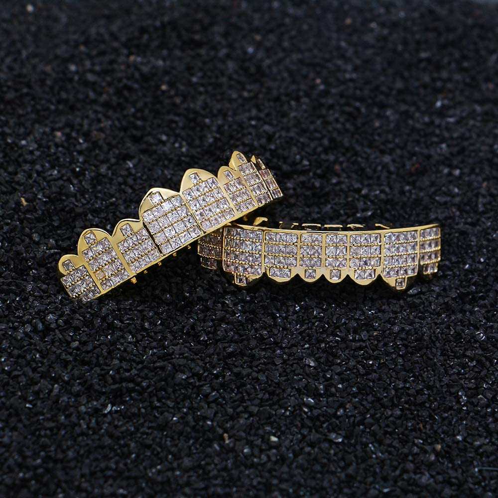 LuReen Diamond CZ Mouth Gold Silver Grillz for Men Women Square Pave Hip Hop Grills for Your Teeth Extra Molding Bars