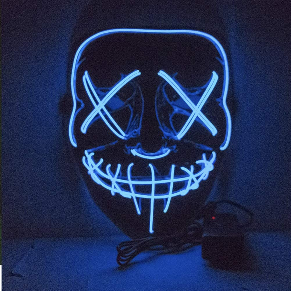 CheeseandU Halloween Glowing Mask Neon LED Glow Scary DJ Party Mascara for Festival Party