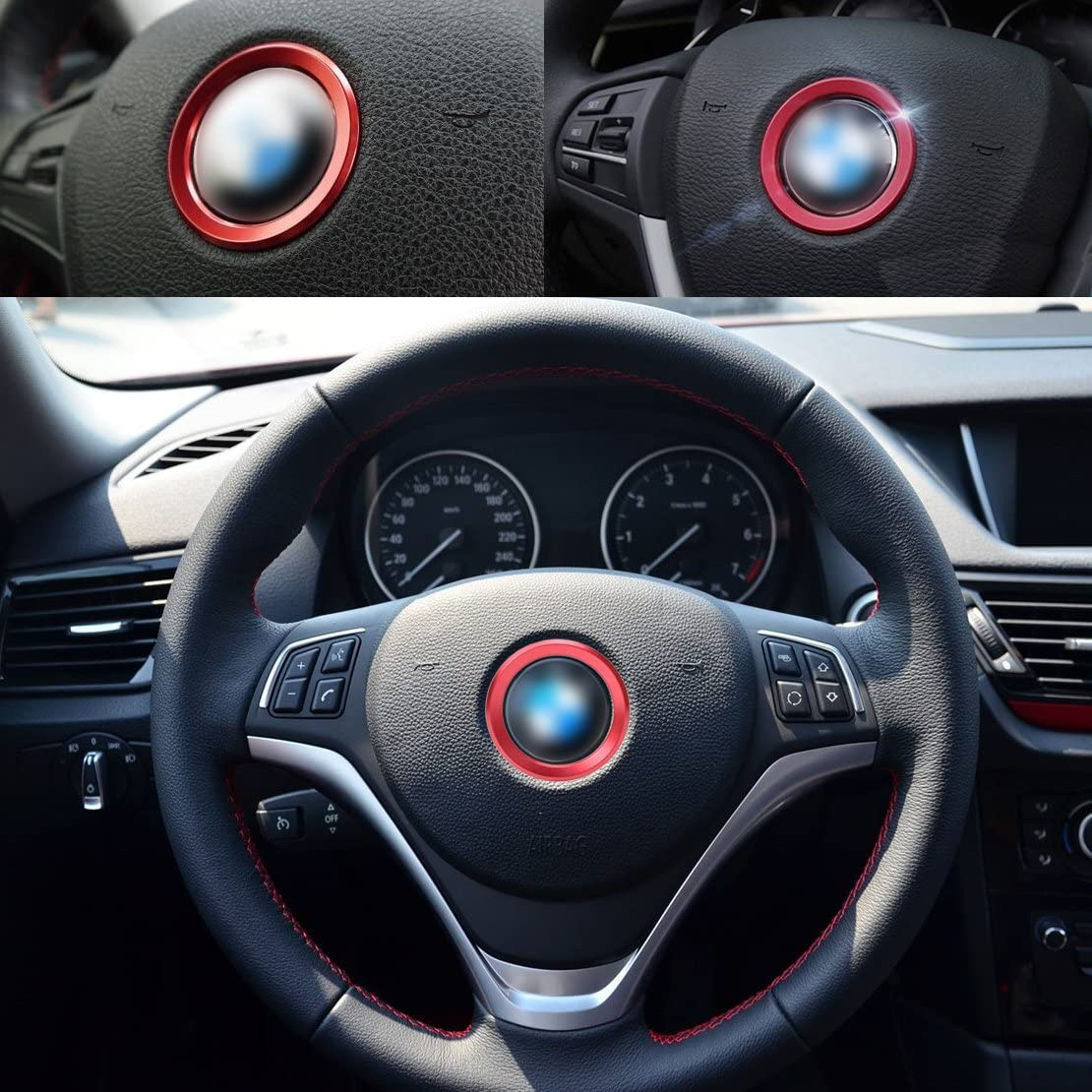 Beler Rot Car Lenkrad Mitte Dekoration Ring Trimm Abdeckung Auto