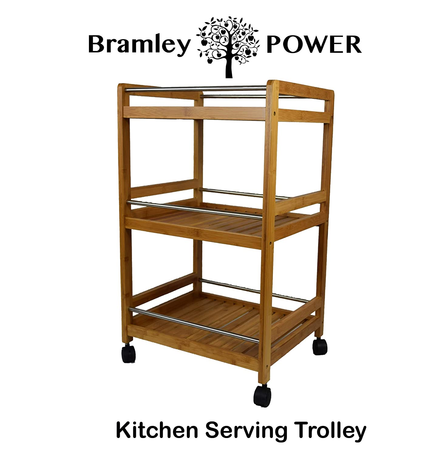 Bramley Power 3 Tier Bamboo Wood Wheeled Kitchen Serving Trolley Rolling Cart with Casters Wheels (Medium)