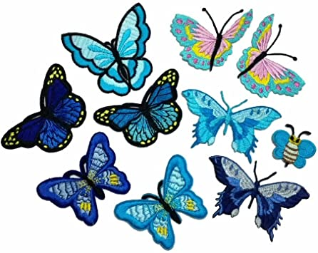 FJTANG 10 Piece Embroidery Iron On Appliques Blue Butterfly Motifs Craft Sewing