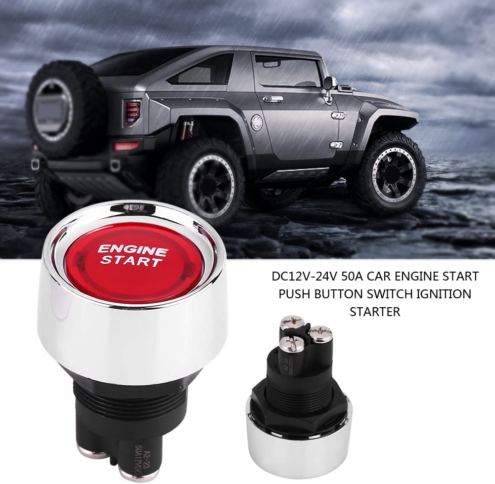 Cuque 12V-24V 50A Engine Start Stop Button Waterproof Ignition Starter Button Switch for Car Vehicle Blue