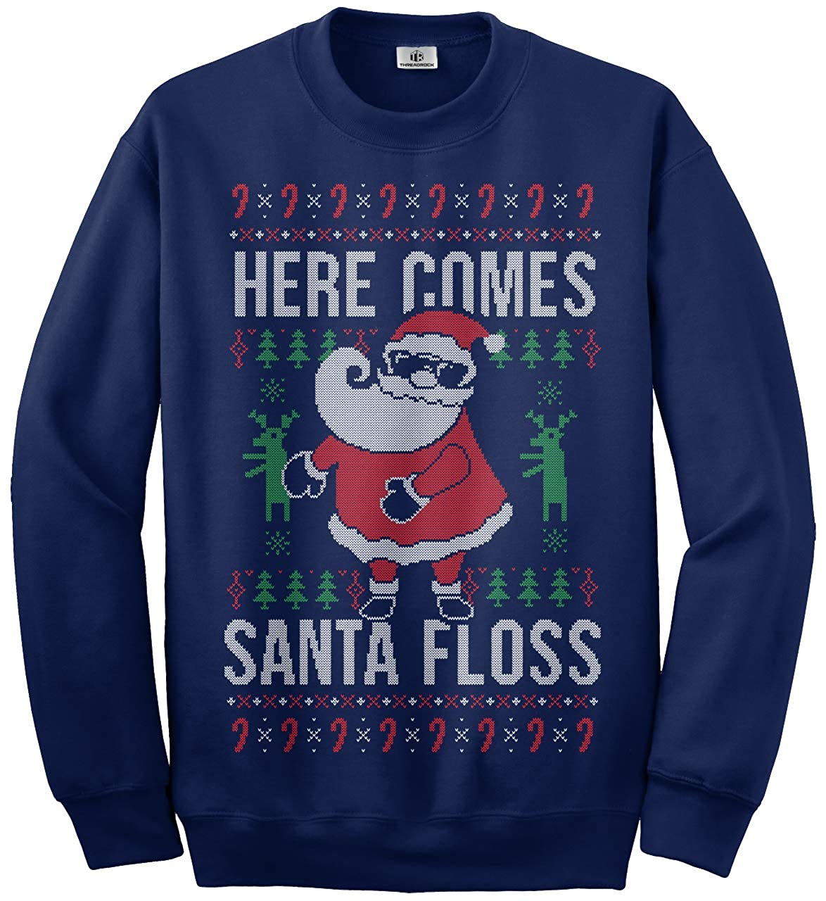 Threadrock Here Comes Santa Floss Ugly Christmas Sweater Kids Youth Sweatshirt TK01345-04