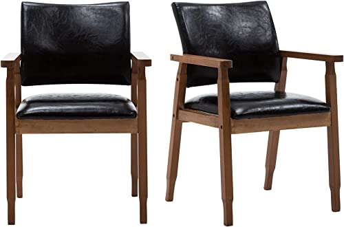 DAGONHIL Modern Walnut Dining Chair Armrests Wooden Chair