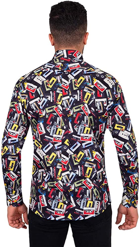 Oscar Banks Men's Pure Cotton Frost Print Shirt SL6722 Colourful