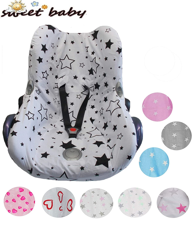 Funda protectora suave Sweet Baby 100 % Cotton Feel para todas las estaciones, universal para portabebés Maxi-Cosi Cabriofix y otros azul Blue Stars