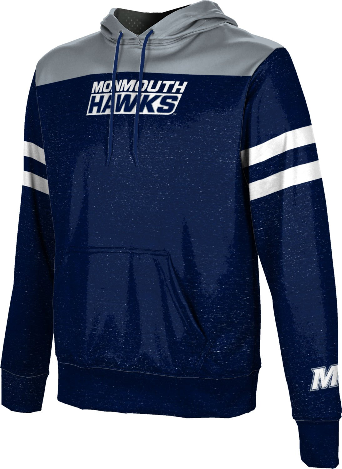 Monmouth University Boys' Pullover Hoodie, School Spirit Sweatshirt (Game Time) FEA9 Blue and Gray