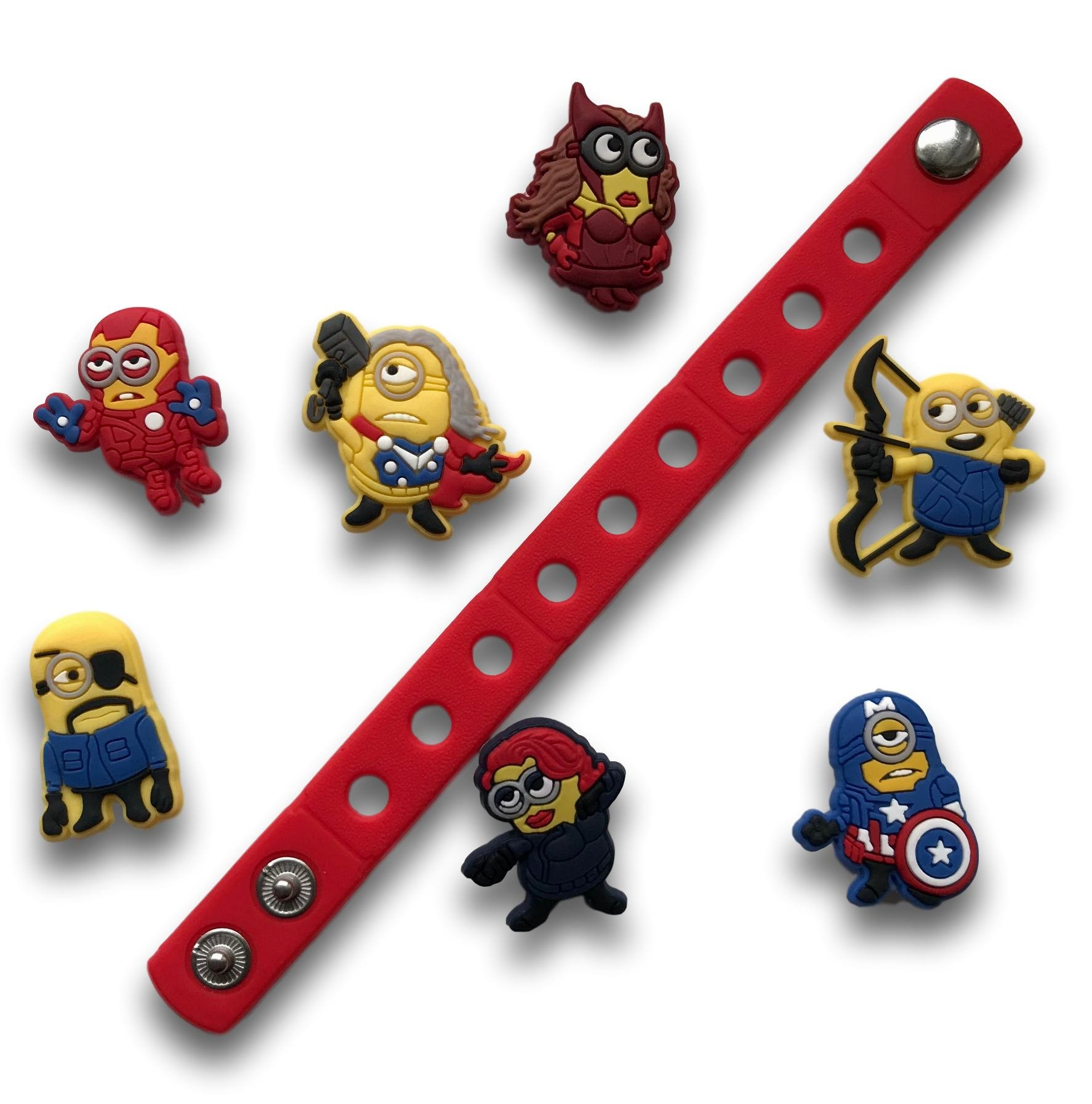 Jibbitz for Crocs Shoes by Nenistore| Cute Shoe Charms Plug Accessories for Crocs & Bracelet Wristband Party Gifts| Minions Avengers (Set of 7 pcs) FREE 01 Silicone Wristband 7 Inches