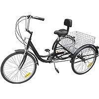 Paneltech 24 pour femme homme Vélo 3 roues Adulte Trike Tricycle Comfort Lady Girl Bike Sports de plein air City Urban Roue de vélo 6 vitesses Gears Panier inclus