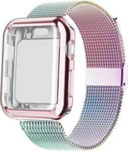 YC YANCH Band Compatible with Apple Watch 38 mm 40mm 42 mm 44mm with Case, Stainless Steel Mesh Loop Band with Apple Watch Screen Protector Compatible with iWatch Apple Watch Series 1/2/3/4/5/6/SE