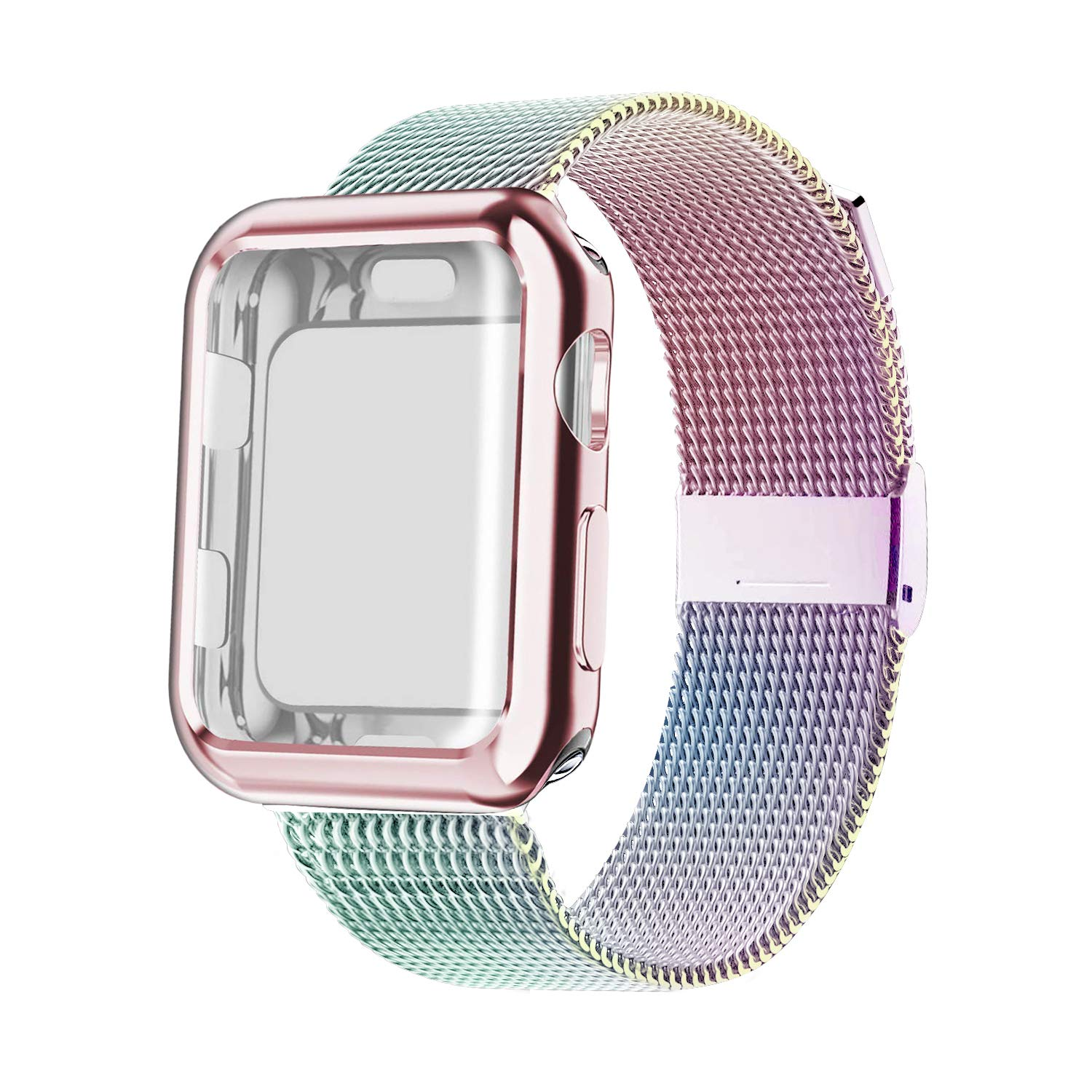 YC YANCH Compatible with Apple Watch Band 38mm with Case, Stainless Steel Mesh Loop Band with Apple Watch Screen Protector Compatible with iWatch Apple Watch Series 1/2/3/4 (38mm Colorful) by YC YANCH