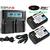 KEENKI 2XPack LP-E6 LP-E6N Battery + Quick Dual LCD Display Charger for Canon EOS 5D Mark II, 5D Mark III, 5DS, 5DS R, 6D, EOS 7D, 60D, 60Da, 70D, 7D markII, 7D markIII Digital Camera normally 1-6 business days (Express shipping) ship by Sydney