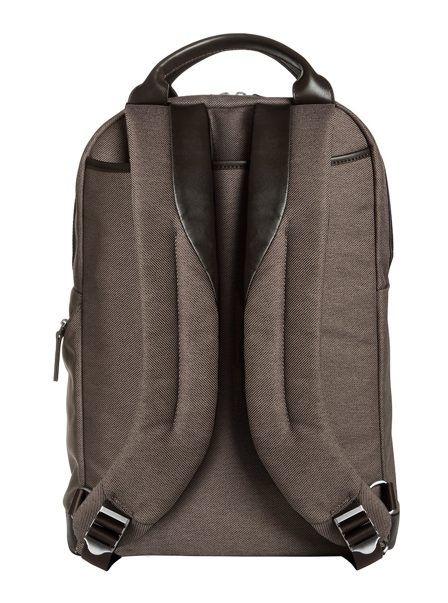 Brenthaven Medina 15.4-Inch Laptop Backpack | Polyester & Leather, Zippered Pockets, Tuck Away Straps | Fits 15.4 Inch Laptop, Chromebook, Macbook, Microsoft Surface by Brenthaven (Image #2)