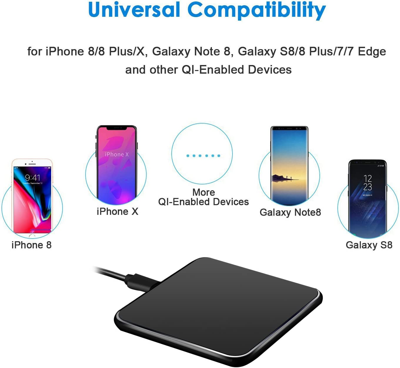 Provides Charging for Galaxy S8// S8+// S7 // S7 edge // S6 edge+,Note5 Wireless Charger,JCOOR Wireless Charger Charging Pad for iPhone 8//8 Plus iPhone X Nexus 5//6 // 7 and Other Devices