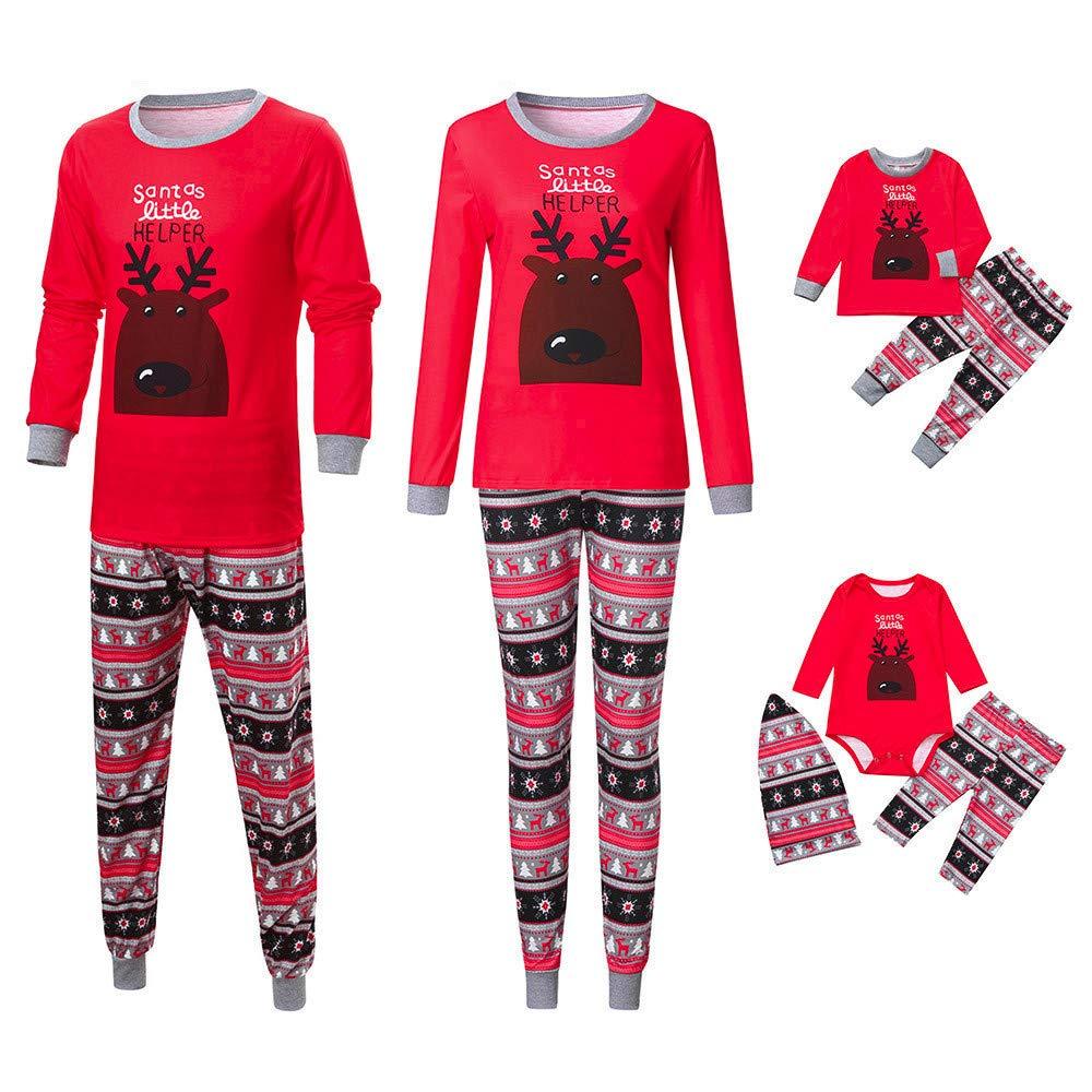 Ansenesna Familien Outfit Pyjama Weihnachten, Vater Mutter Baby Kinder Baumwolle Herbst Winter Soft Elegant Elch Cartoon Kleidung Set 18969