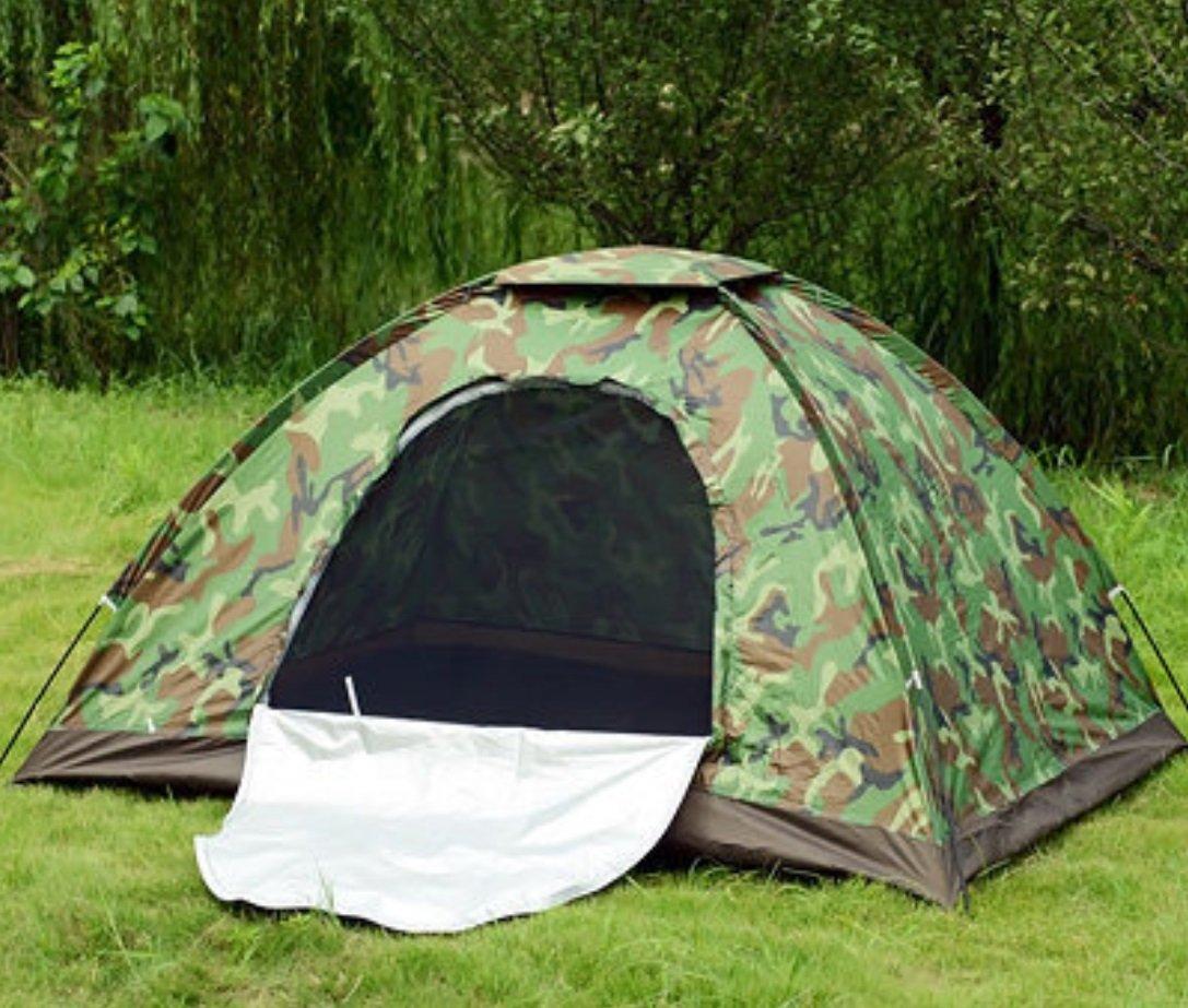 Einlagiges Doppel-Tarnungs-Zelt 2 Personen-Freizeit-Zelt im Freien Camping-Zelt ZXCV