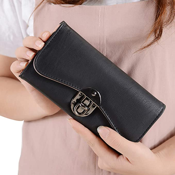 db5e1dae1575f Women Wallets Dull Polish Leather Wallet Double Zipper Day Clutch Purse