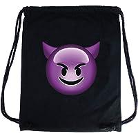 PREMYO Sac à dos cordon avec Emoji Diable Cornes. Sac à cordon en coton noir avec impression Émoticône Devil en couleur. Sac de gym / sport imprimé. Sac à ficelles en tissu haut de gamme pour la route
